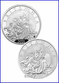 2-Pc Set 2021 Great Britain Silver Britannia 1 oz Silver Proof + Reverse Proof