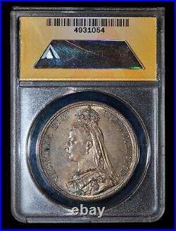 ANACS MS63 1887 Great Britain Queen Victoria Silver Crown toned