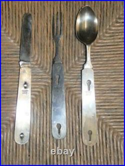Antique Military Silver-Plate Campaign Cutlery Set & Case -'Varinder, St Pauls
