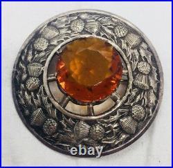 Antique Victorian Scottish Great Britain Silver Plated Citrine Massive Pin