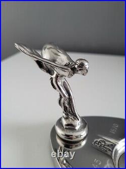 Genuine Rolls Royce RR Silver Lady Spirit Of Ecstasy 1970's Chrome Ashtray