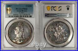 Great Britain 1887 Victoria Silver Proof Crown PCGS PR-62 Gold Shield
