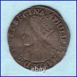 Great Britain. C1554 Philip & Mary Groat. MM-Lis. Near Full Flan. AVF RARE