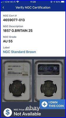 Great Britain England Gothic Queen Victoria 1857 Florin Silver Coin, Ngc Au55
