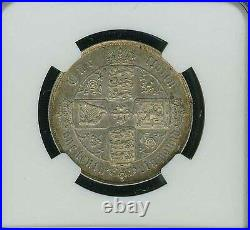 Great Britain England Victoria 1864 1 Florin Silver Coin, Ngc Certified Au-55