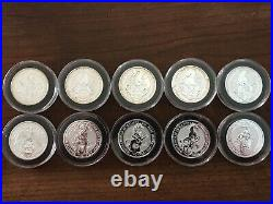 Great Britain Queen's Beast Full 10-Coin Set 2 Oz Silver with Capsules