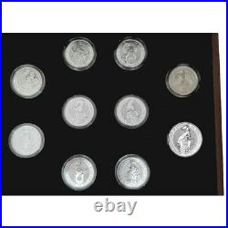 In hand 2021 2oz silver proof Queens Beasts Royal Mint ten coin set