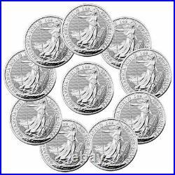Lot of 10 2021 Great Britain Silver Britannia 1oz Silver £2 Coins GEM BU