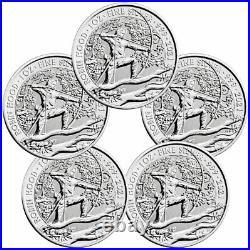 Lot of 5 2021 Great Britain Myths & Legends Robin Hood 1oz Silver Coins BU