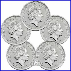 Lot of 5 2021 Great Britain Silver Britannia 1 oz Silver £2 Coins GEM BU