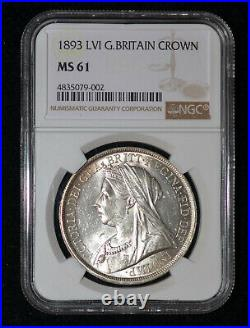 NGC MS61 1893 Great Britain Queen Victoria Silver Crown