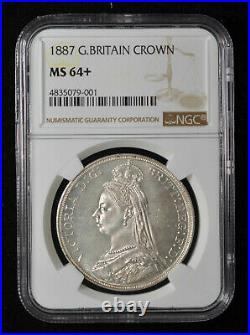 NGC MS64+ 1887 Great Britain Queen Victoria Silver Crown