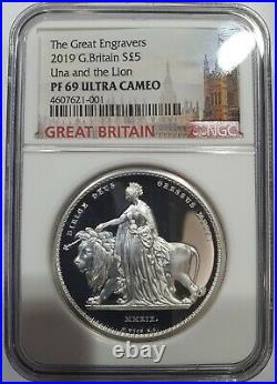 NGC PF69 Great Britain UK 2019 Great Engravers Una and the Lion Silver Coin 2oz