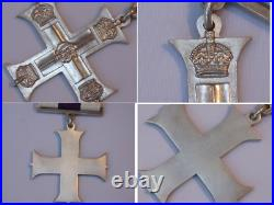 Original WWI Silver Full Size Military Cross Gallantry Medal with Case