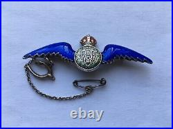 SUPERB C1930s-40s R. A. F. SILVER&DEEP BLUE GUILLOCHE ENAMEL SWEETHEARTS PIN BROOCH