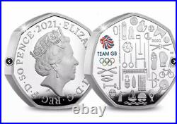 TEAM GB 2020 / 2021 UK 50p Silver Proof Piedfort Colour Coin BOX & COA. IN HAND