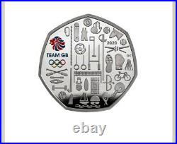 TEAM GB 2021 UK 50p Silver Proof Piedfort Colour Coin BOX & COA, SEALED, SOLD OUT