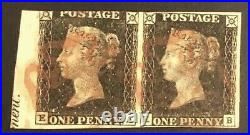 TangStamps Great Britain #1 Penny Black Used Pair With Imprint, Queen Victoria
