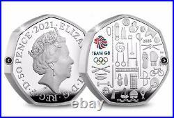 Team GB 2021 UK 50p Silver Proof Piedfort Colour Coin BOX & COA Ltd 1500