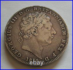 Uk-great Britain-king George Iii-crown 1819 LIX -no Edge Stops Km#675, G3cr-230
