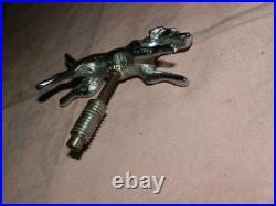 Vintage Small Original Chrome Plated Running Hound Car Mascot