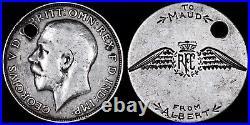 WWI Great War RFC Sweetheart / Love Token, Engraved Silver Florin, c. 1914-1918